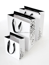 custom printed band recycled white paper bag with handle