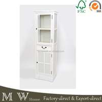 shabby chic wood display cabinet, french white painted wood display cabinet, wood display cabinet