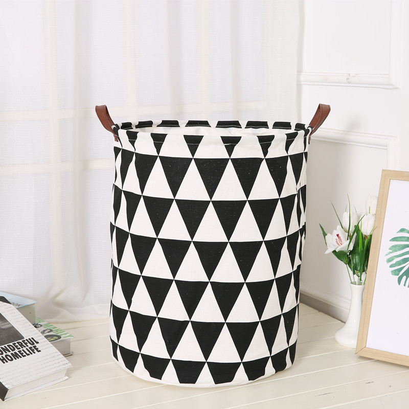 Cotton Canvas Fabric Storage Basket Round Gift Basket <strong>w</strong>/Handles for Toys Laundry Baby Nursery