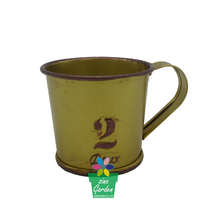 Powder coated bright color mini garden metal plant flower pot coffee tea cup and saucer planter with tray