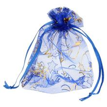 Organza Jewelry Bags Drawstring Rectangle Deep Blue Christmas Tree Snowflake Pattern 14cm x10cm