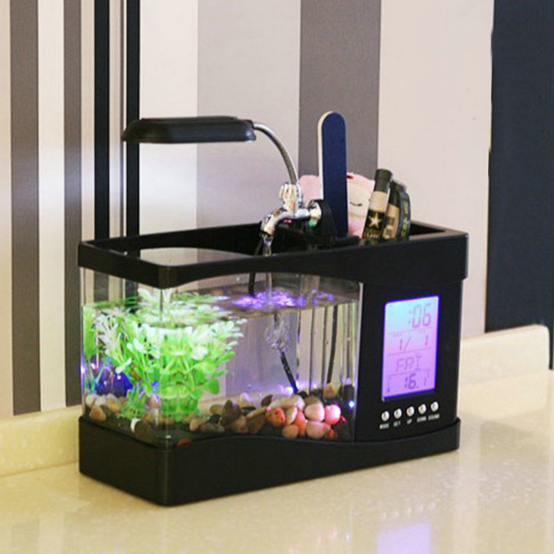 Office desktop mini USB multifunction acrylic aquarium fish tank