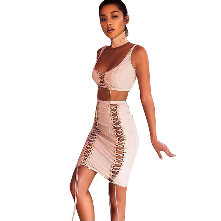2018 summer Four Color Strap Two Pieces Fashion Woman Sexy Bandage Bodycon Dress Girl Dress Set