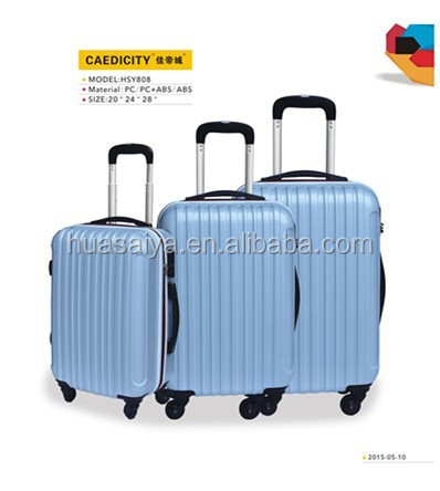 luggage wholesale solid color pc trolley luggage 3pcs