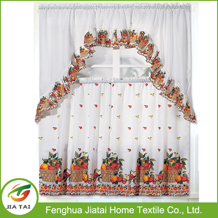 Professional cheap luxury polyester kitchen curtain with low price