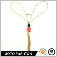 Fashion design simple gold long thin chain black adn red bead necklace for girls