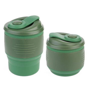 Portable Mugs Leak Proof Locked Lid for Traveling Camping School Outdoor of silicone coffee cup
