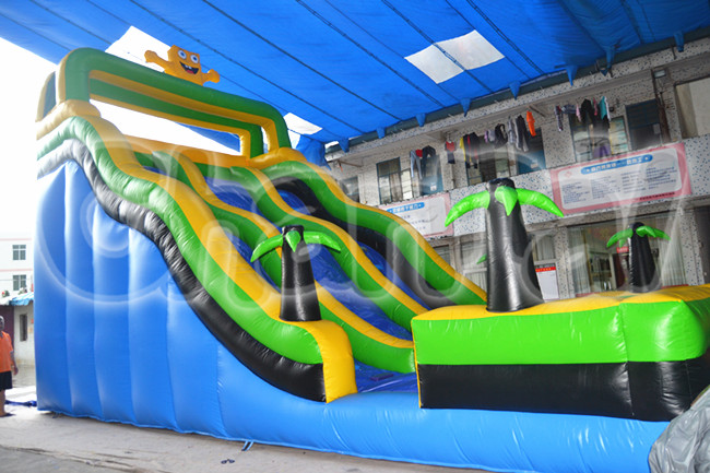 high speed inflatable palm tree kids slides