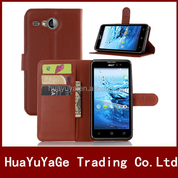PU Wallet Stand leather&ID Card Hodler case cover for Acer liquid Z520