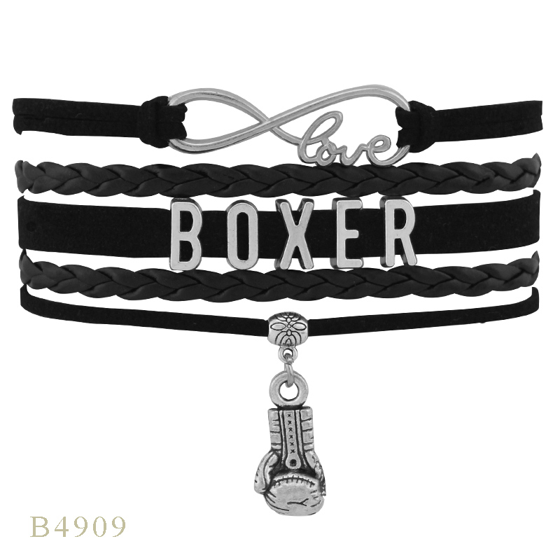 Unique Design BOXER Boxing Gloves Angel Wings Charm The Winner Letter Leather Infinity Wrap Bracelets