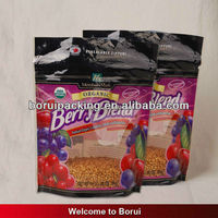 Hot sell stand up plastic zipper bag with window for copra