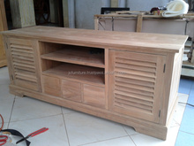 Solid teak wood furniture sideboard TV Stand 2 doors krepyak Indonesia exporter