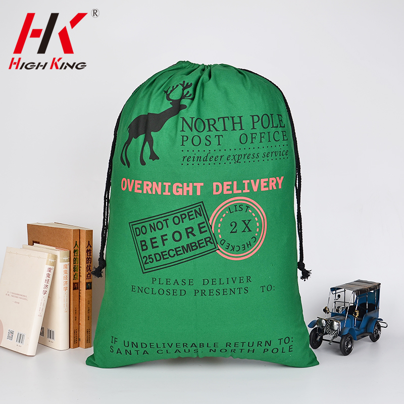 Fast shipping Christmas holiday party drawstring green color sacks bags