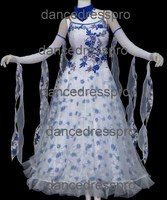 #2261 Customs-made Floral Printed Ballroom Foxtrot Dance Dress