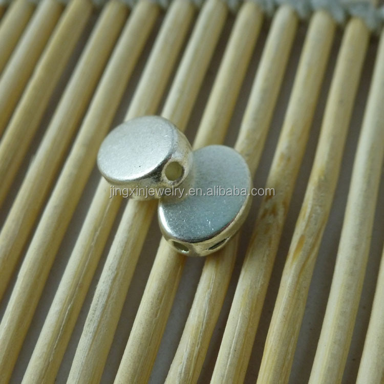 Nickel & Lead Free Flat Oval Blank Metal Beads 10*8mm Hole 1.5mm