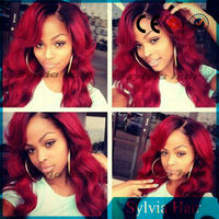 Synthetic Short Black Colored Root Red Ombre Side Parted Lace Front Wig