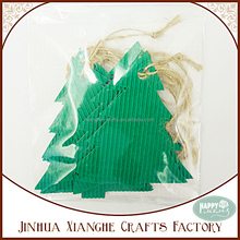 Christmas Tree Paper Hang Tag with String for Decoration