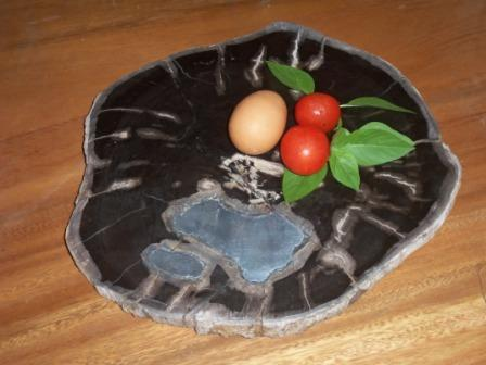 Petrified Wood with aluminum accent - food trays