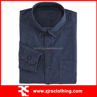Mens Cotton Denim Long Sleeve Shirt with Left Chest Pocket
