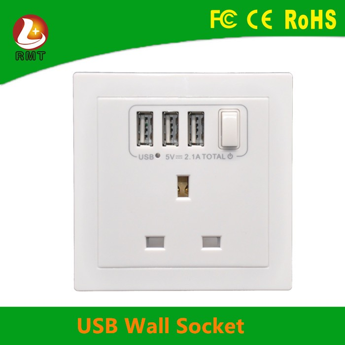 Factory wholesale Surge protector 220V 16A UK type sockets 3 pin wall socket outlet