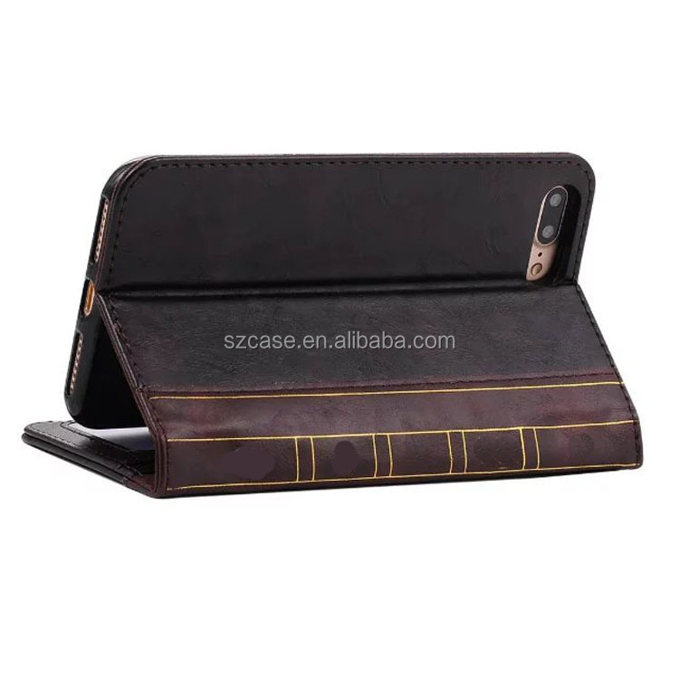 Genuine leather book style mobile phone case for Iphone 7