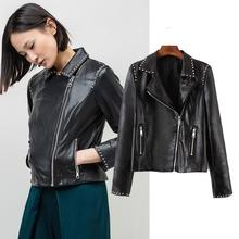 China Factory Women's Motorbike Stiudded Leather Jacket In Sialkot