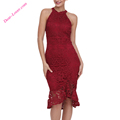 Red Burgundy Sleeveless Lace Fishtail Bodycon Dress