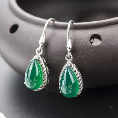 New Silver Drop Earrings For girls, High Quality Green Agate Earring Fashion Jewelry Wedding Gift 1140734