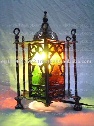 Tripod Cast Brass Table Lamp Lined With Colored Stained Glass