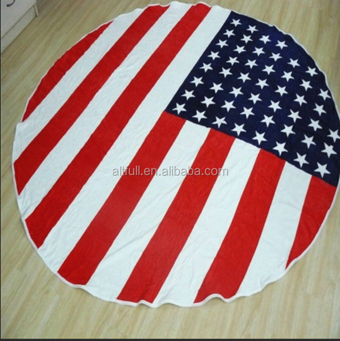 2015 China Supplier Wholesale Cheap Microfiber Fabric Round Digital Printed Beach, Picnic, Household Towel/Blanket