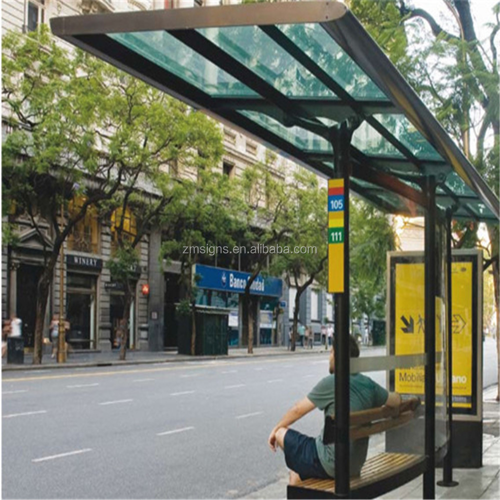 ZM-BS28 aluminum profile No Inflatable Solar Power Bus Stop Shelter