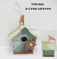 Vintage Wooden Bird House ornament with tin roof for hanging inside or outside