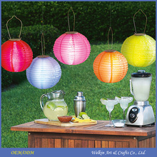 White paper lampion for wedding, Outdoor waterproof LED light rechargeable solar lantern, 3inch, 4inch nylon cloth mini lantern