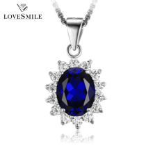 High quality royal handmade 925 silver jewelry custom necklace blue sapphire pendant for lady