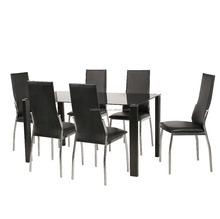 Classic 4 seater modern fiber glass top dining table set for kitchen room