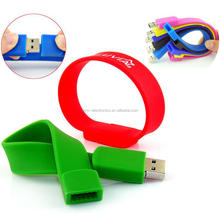 Custmozied Bracelet USB pendrive 2.0 Silicone wristband with screen printing 1c free cost