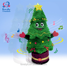 "15"" Home Decoration Singing And Twisting Plush Stuffed Toy Christmas Tree For Gift"