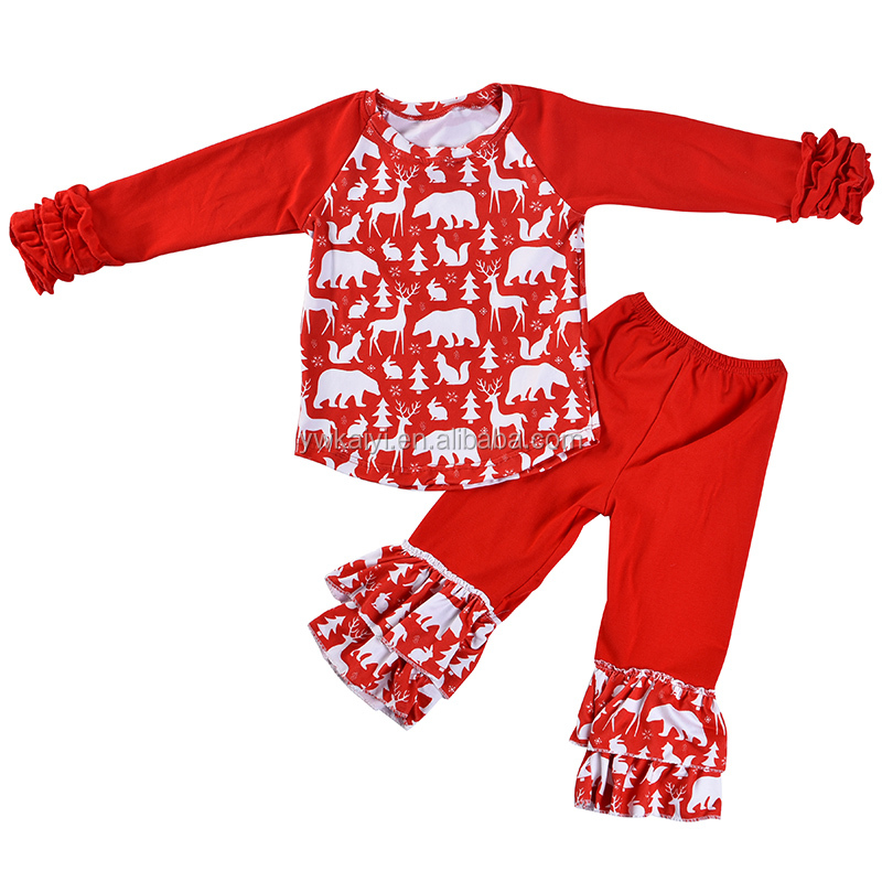 New Design Baby New Years Outfit Red Long Sets 1st Birthday Outfit