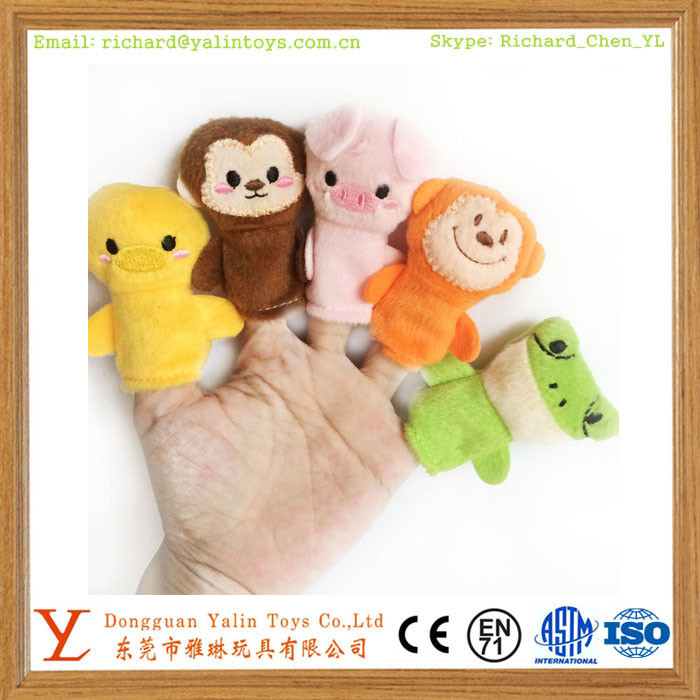 stuffed soft hand puppet,plush animal finger puppet set