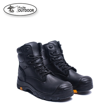 Men Black Full Grain Leather Work Boots