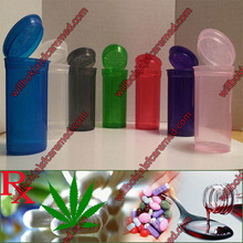 Hinged lid pharmacy Vial Plastic pop up container