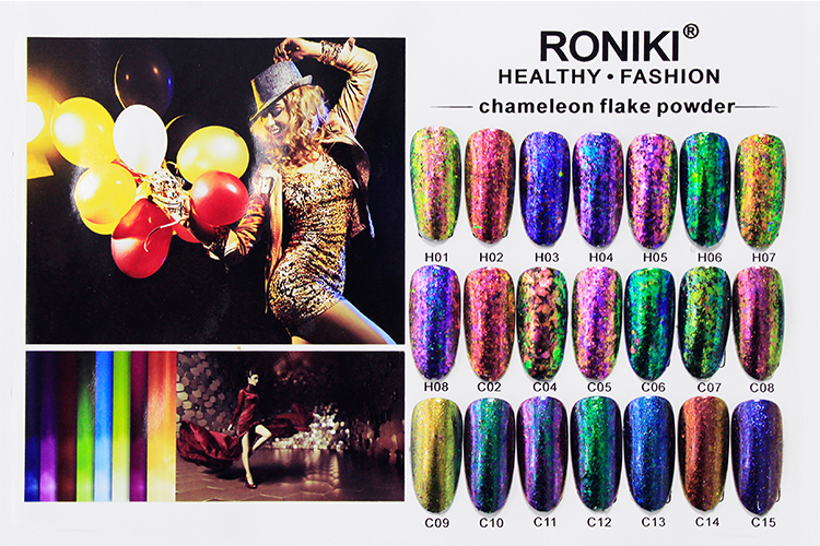 RONIKI Wholesale Color Chameleon Pigment flakes for Cosmetic Nail Art