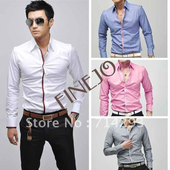 2015 Men's Long Sleeve dress shirt Dress Shirt slim fit Casual Slim Fit Tops 5183