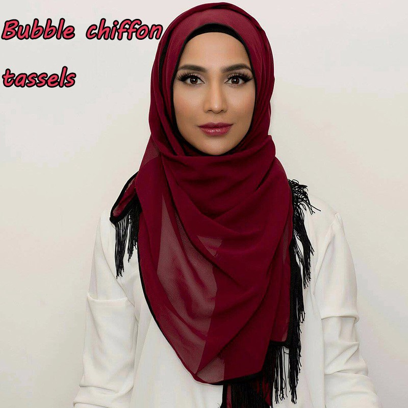 New design bubble chiffon tassels popular scarf winter fashion shawls 2017 muslim hijab printe solid scarves/pashmina