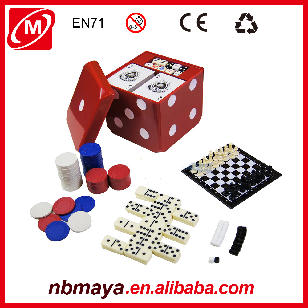 Funny Board Wooden Magnetic 6 in 1 Game Set with Backgammon Domino Chess,funny cube iq toy iq box game
