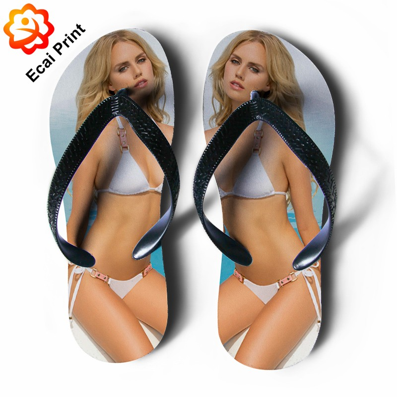 2016 wholesale printed woman sandal flip flops with photos