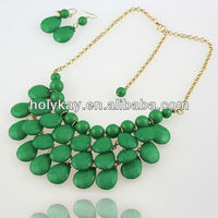 Christmas Promotion green acrylic beaded statement necklace, 2012 fashion scarf jewelry