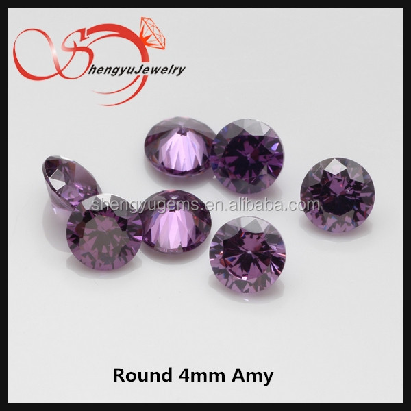 Loose gemstone cubic Zirconia round shape 4mm CZ stone aubergine hot sale
