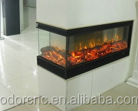 Marble decorative 3 sided electric fireplace