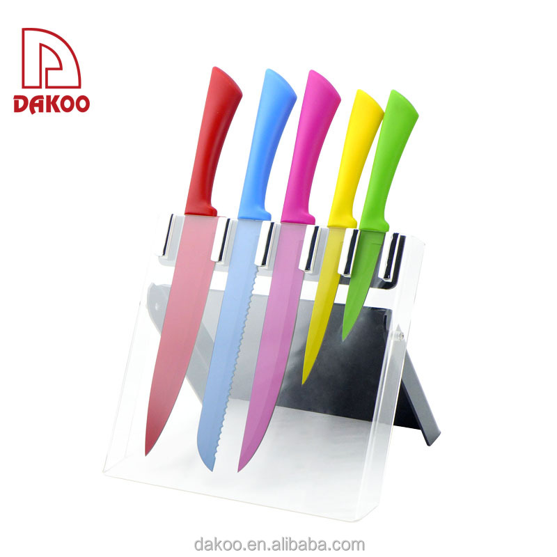 Color Non-Stick Kitchen 5Pcs Knife With Holder